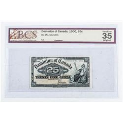Dominion of Canada 1900 - 25 Cent Note