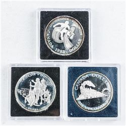 Group (3) Silver Canada Cased Dollars
