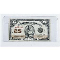 Dominion of Canada 1923 25 Cent Note. (VF)  C/C