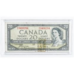 Bank of Canada 1954 20.00 Note Devil's Face.  C/T