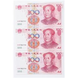 Group (3) China 100 YUAN UNC In sequence with  '88' (SER)