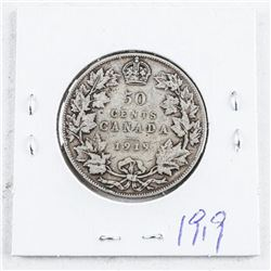 Canada George V Silver 1919 50 Cent Coin,  over 100 Years