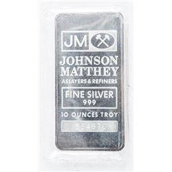 Johnson Matthey .999 Fine Silver 10oz Bar.  Collector Bullion, No Longer Produced. Logo  Back Style.