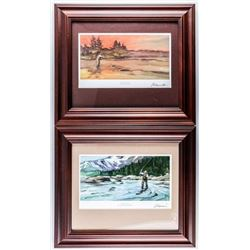 """Group of (2) Canada Post - Litho's 'Fly  Fishing' Gallery Framed. 12x14"""""""