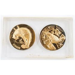 Group of (2) 24kt Gold Plated over Sterling  Silver Wildlife Coins - Wild Turkey and  Fisher