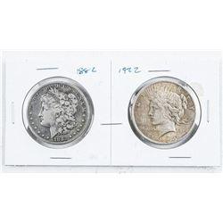 Lot (2) USA Silver Dollars: 1882 Morgan and  1922 Peace