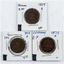 Group (3) Germany 1874A, 1875A, 1876A 2PF