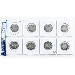 Group of (8) Silver CANADA 25 Cent: 1930-1966