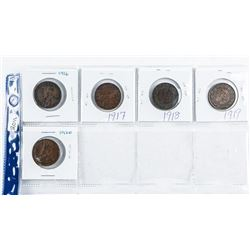 Group (5) Canada Large Cent Coin - over 100  Years: 1916, 1917, 1918, 1919, 1920