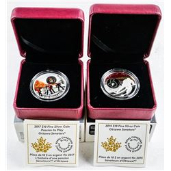 Lot (2) Passion to Play - Ottawa Logo Coins  .9999 Fine Silver $10.00