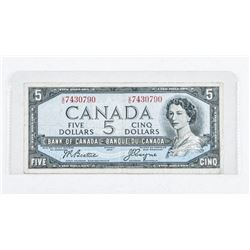 Bank of Canada 1954 5.00 Modified Portrait  Note. (VG)