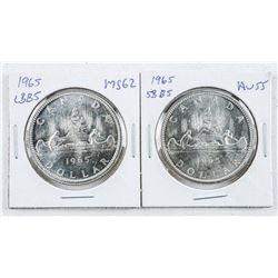 Lot (2) 1965 CANADA Silver Dollars: SB/B5,  LB/B5 AU55-MS62
