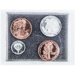 Group of (4) Bullion .9999 Fine Silver and  Copper Coins and Rounds
