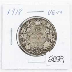 1918 Canada Silver 50 cent VG10