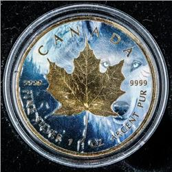 2018 Maple Leaf 5.00 Canada .999 Fine Silver  with 24kt Gold Gilding with C.O..A LE/500 1oz