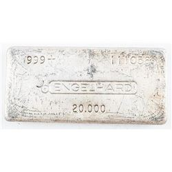 Vintage Investment Bullion Bar, Engelhard  .999 + Fine Silver Hand poured 20oz Bar  serialized (SMRR