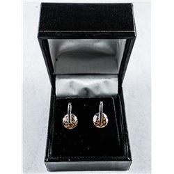925 Silver Stud Style Earrings. Bezel Set,  Champagne Swarovski Elements