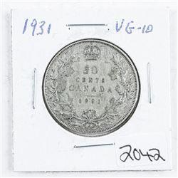 1931 Canada Silver 50 cent VG10