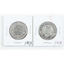 Lot (2) CAN/NFLD 1917 50 Cents 925 Silver