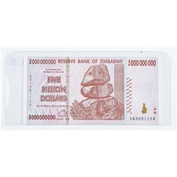 Reserve Bank of Zimbabwe Five Billion Dollars  with Serial Numbers