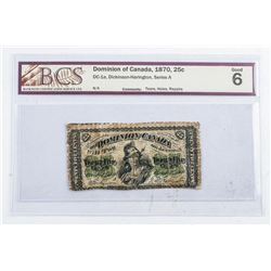 Dominion of Canada 1870 25 Cent Note. G6. BCS