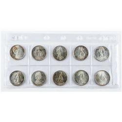 Lot (10) Canada Silver 50c. 1867-1967.