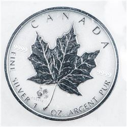 RCM Maple Leaf 5.00 Coin with Rooster Privy  .999 Fine Silver Reverse Finish Original Mint  Wrap