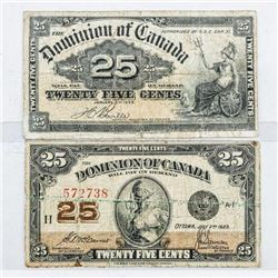 Lot (2) Dominion of Canada 1900 and 1923 25  Cent Note