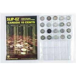 Lot (20) Canada Silver 10c. Mixed Dates.