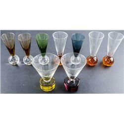 Group (9) Crystal Glass Shot Glasses