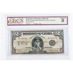 Dominion of Canada 1923 2.00 Black seal. VG8.  BCS Cert