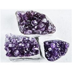 Group (3) Genuine Amethyst Clusters