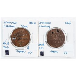 Lot (2) NORWAY - 1 Skilling Copper Coins 1816  and 1820 KM#286-289 (VF-VG)