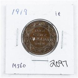 Canada 1919 Large Cent MS60