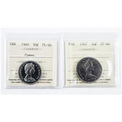 Lot (2) 1967 and 1969 Canada 50 Cent SP66 and  PL66. ICCS.