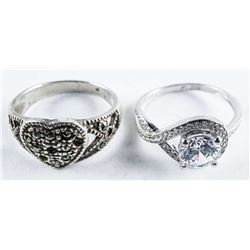 Group (3) Estate Sterling Silver Rings. Size  7.5-8