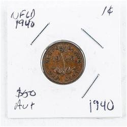 NFLD 1940 1 Cent AU+