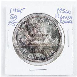 1965 Canada Silver Dollar. MS60/Heavy Cameo.  SB/P5