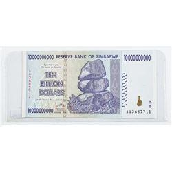 Reserve Bank of Zimbabwe Ten Billion Dollars  with Serial Nos. Genuine GEM UNC