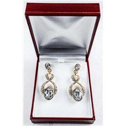 MM Designer 2 Tier Earrings, 18kt / 925  Silver Figure 8 Design. Swarovski Elements