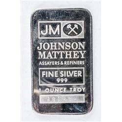 Scarce - Johnson Matthey .999 Silver1oz Bar.  Very Collectible, No Longer Produced.