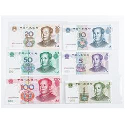 CHINA 6 Note Collection. All with Same Last 3  Serial Number Digits. GEM UNC