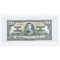 Bank of Canada 1937 20.00 VF20 G/T