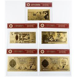 Group (5) 24kt Gold Foil Notes, Italy, Israel  etc