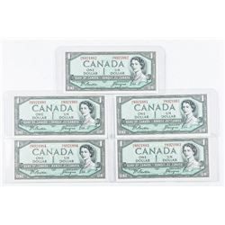 Lot (5) Bank of Canada 1954 1.00 B/C In  Sequence AU-UNC