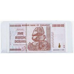 Reserve Bank of Zimbabwe Five Billion Dollars  with Serial Nos. Genuine GEM UNC