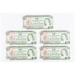 Bank of Canada 1969 Lot (5) 20.00 in Sequence  CH-UNC 771-775