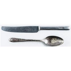 Group (2) Utensils Spoon with RCAF Insignia,  Plus Knife Inscribed. Avro