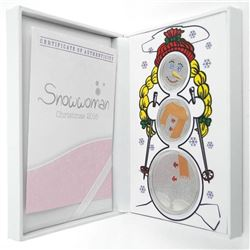 925 Sterling Silver, Snowwoman 3- Medal Set,  1/4 1/2 1oz Proof Like Diamond Frosting