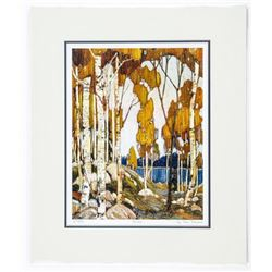 Tom Thomson (1877-1917) Litho 'Birches' Rare  number 1975 10x13 Matted